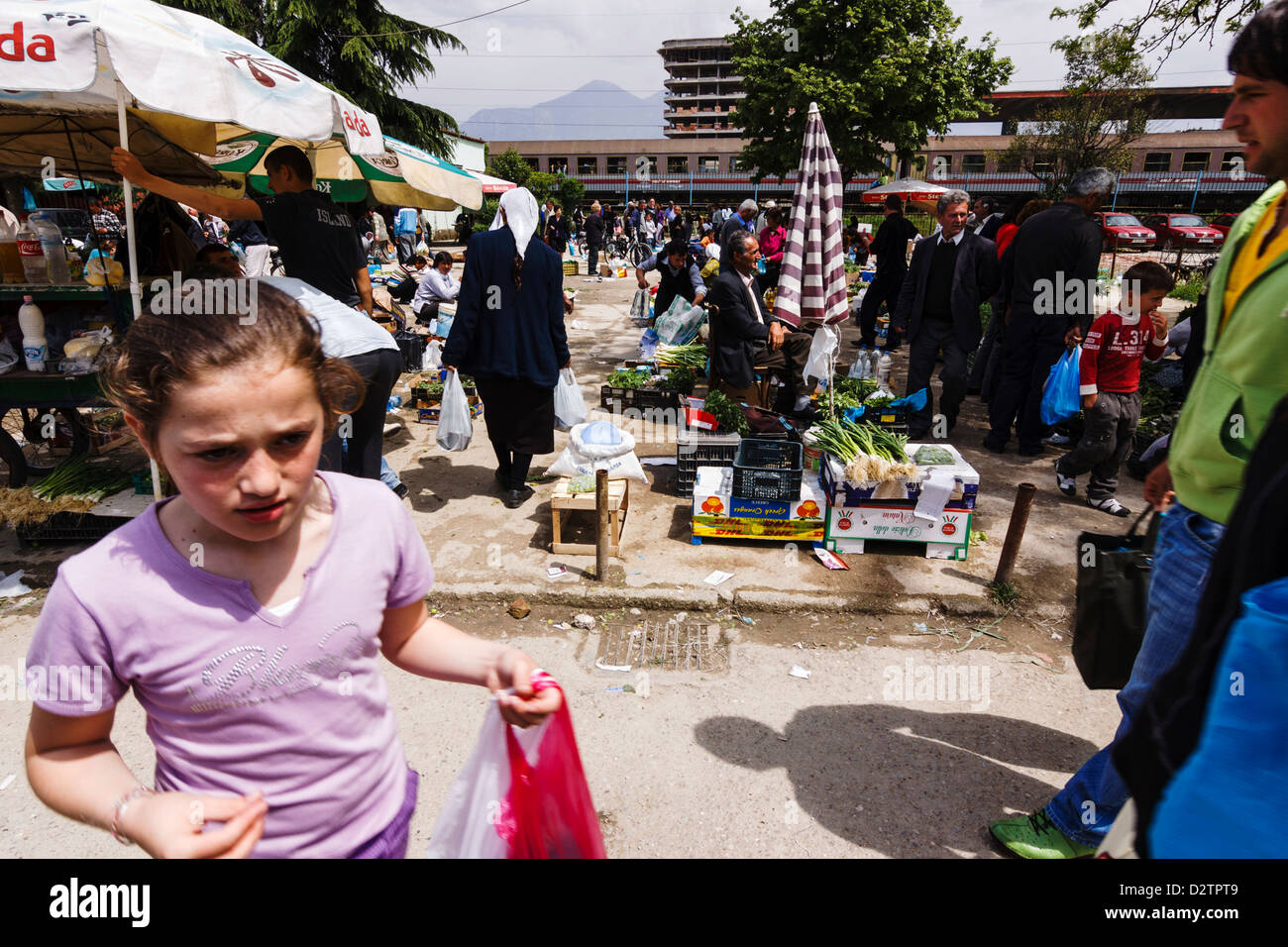 Pazari i ri, Central Market in Tirana, Albania - Stock Image