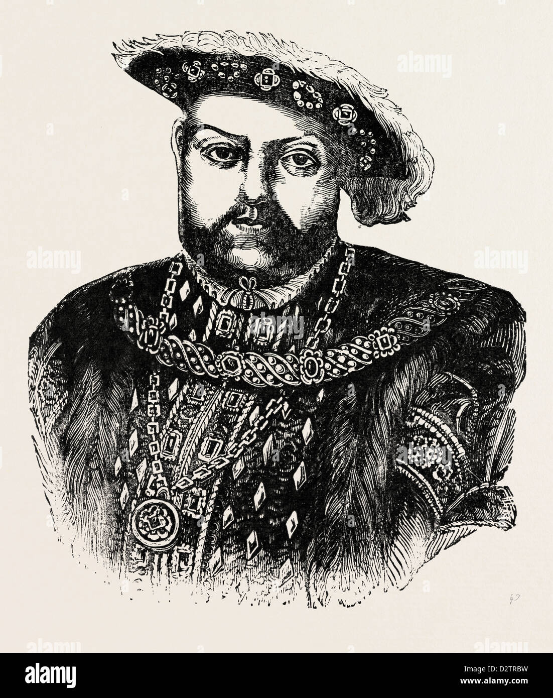 PORTRAIT OF HENRY VIII. BY HOLBEIN. - Stock Image