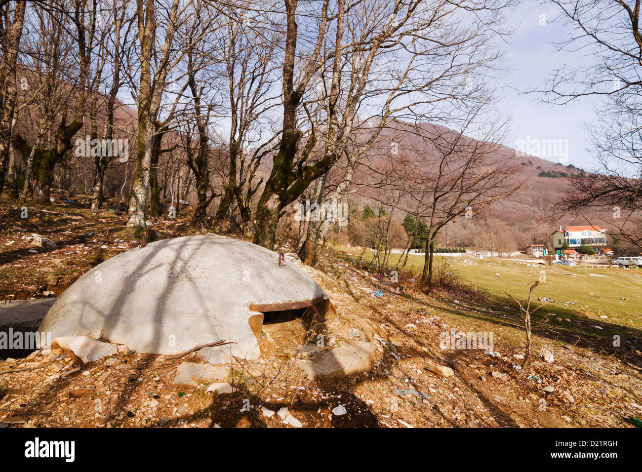 Old bunker at the Dajti massive near Tirana, Albania - Stock Image