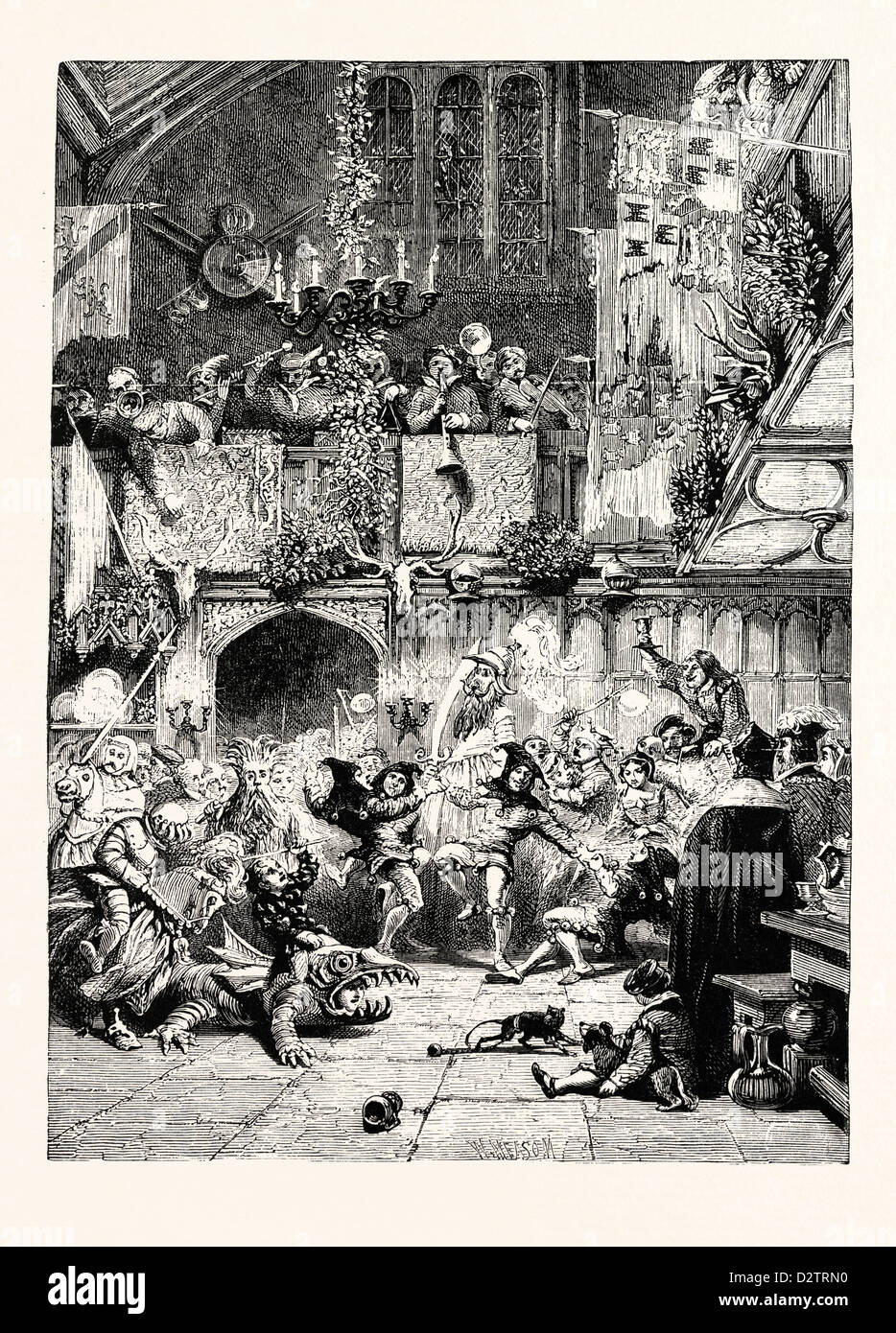 TUDOR TIMES: CHRISTMAS REVELS IN THE BARONIAL HALL. - Stock Image