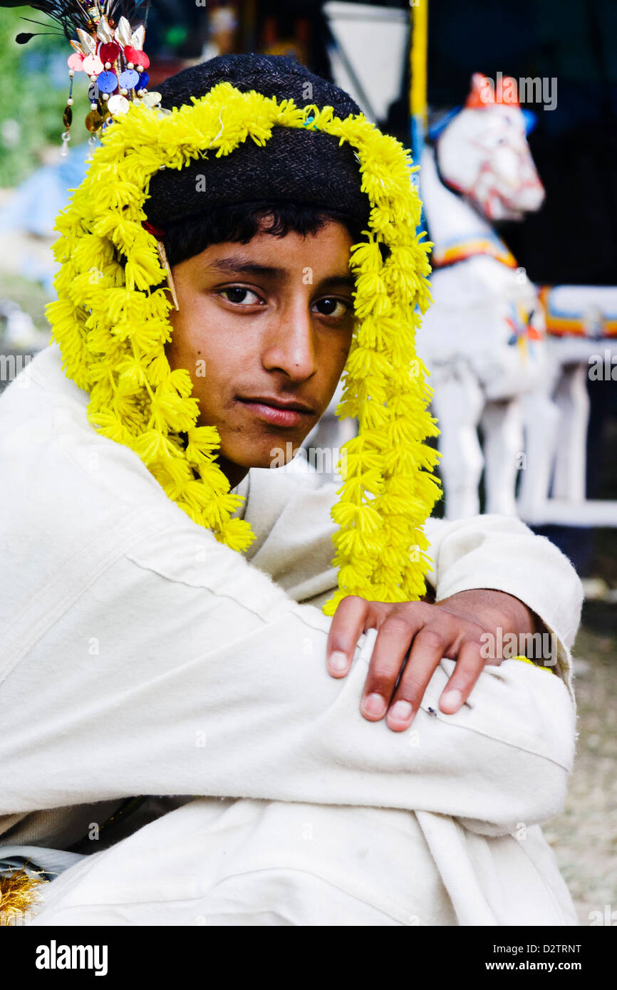 Young male of Kshatriya high caste in traditional outfit at the festival of Nagar, Kullu Valley, Himachal Pradesh, - Stock Image
