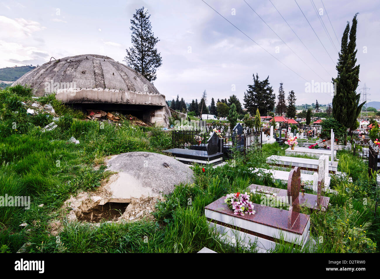 Old bunkers among the tombs of Sharra cemetery. Tirana, Albania - Stock Image