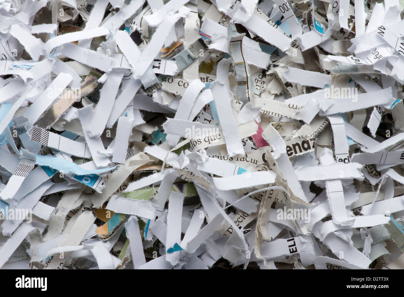Pile of shredded paper - Stock Image