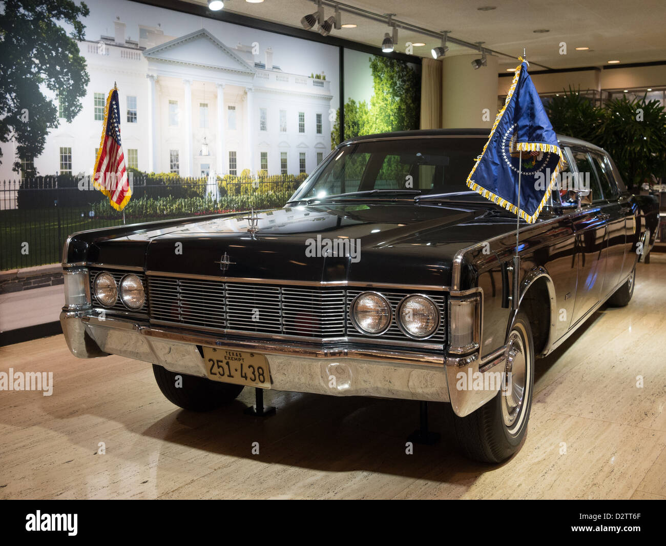 Bullet proof Presidential Limousine in the LBJ Museum in Austin, Texas Stock Photo