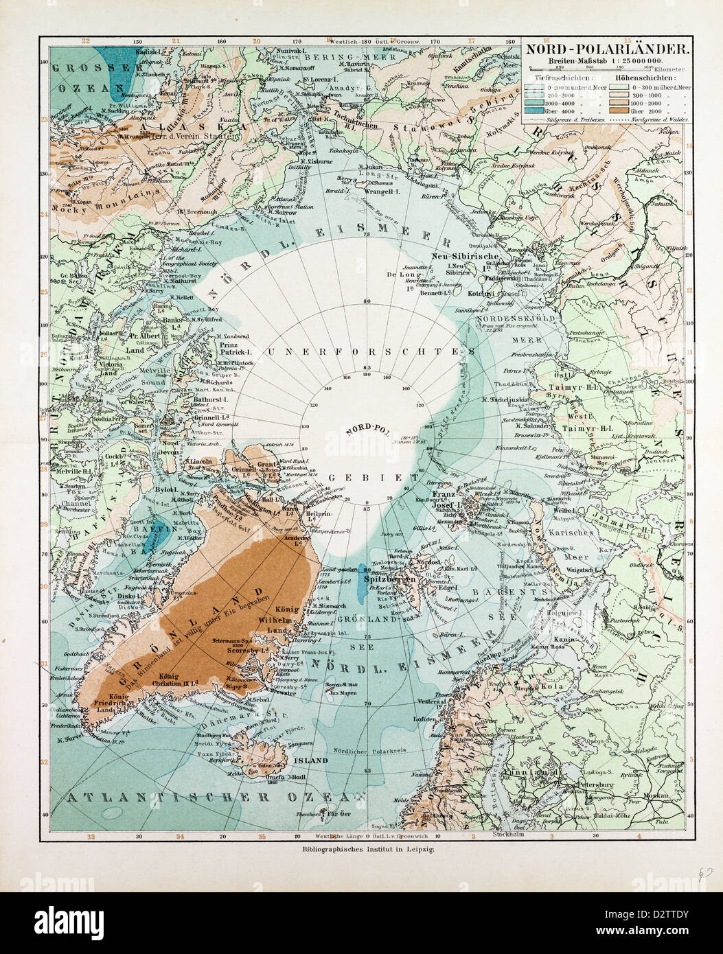 MAP OF COUNTRIES AROUND THE NORTH POLE 1899 - Stock Image