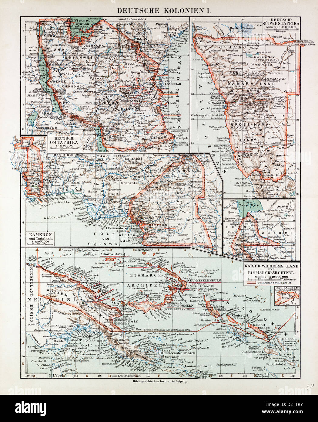 map of german colonies german new guinea cameroon 1899 stock image