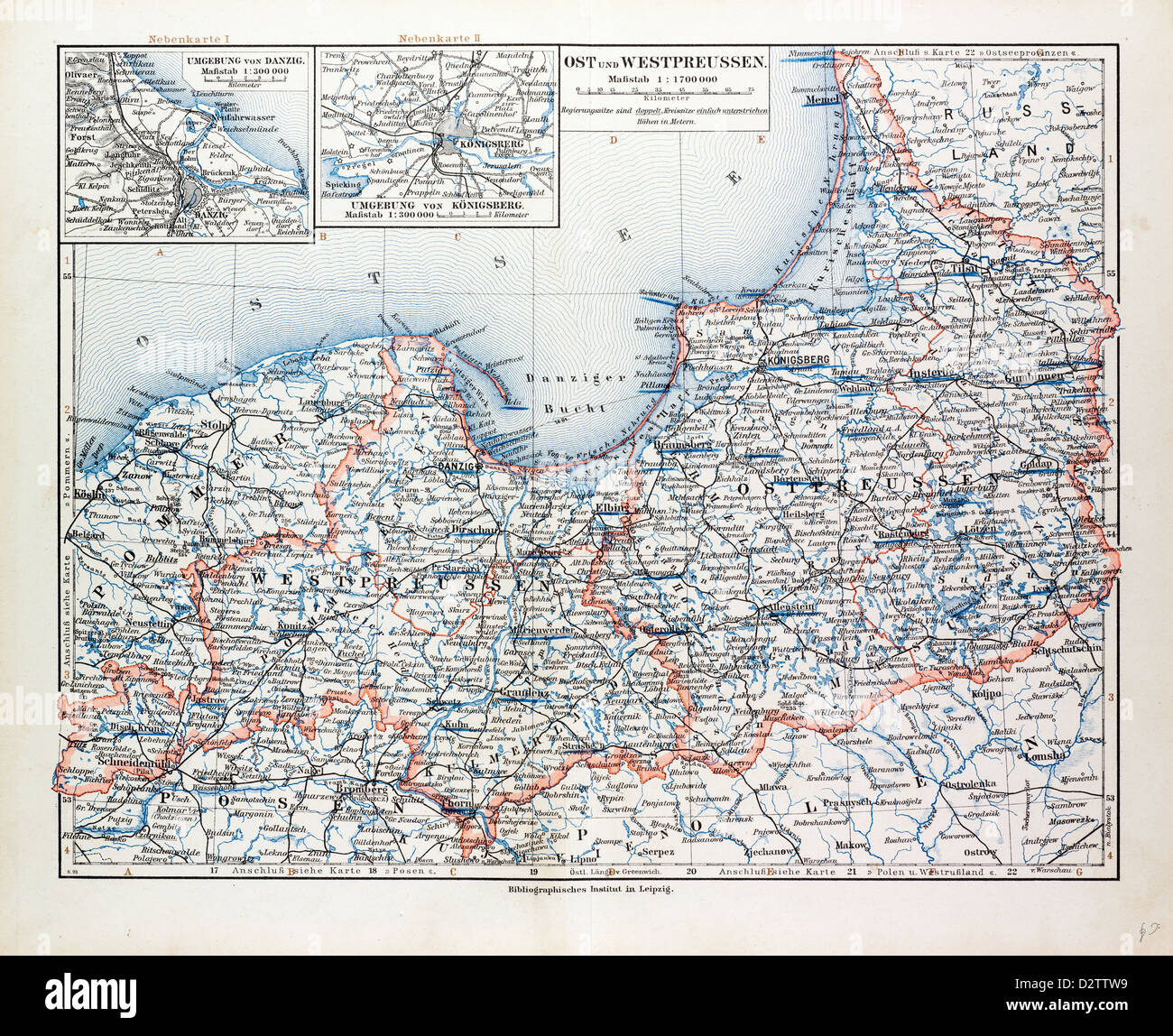 Map Of East And West Prussia Konigsberg Kaliningrad Russia And