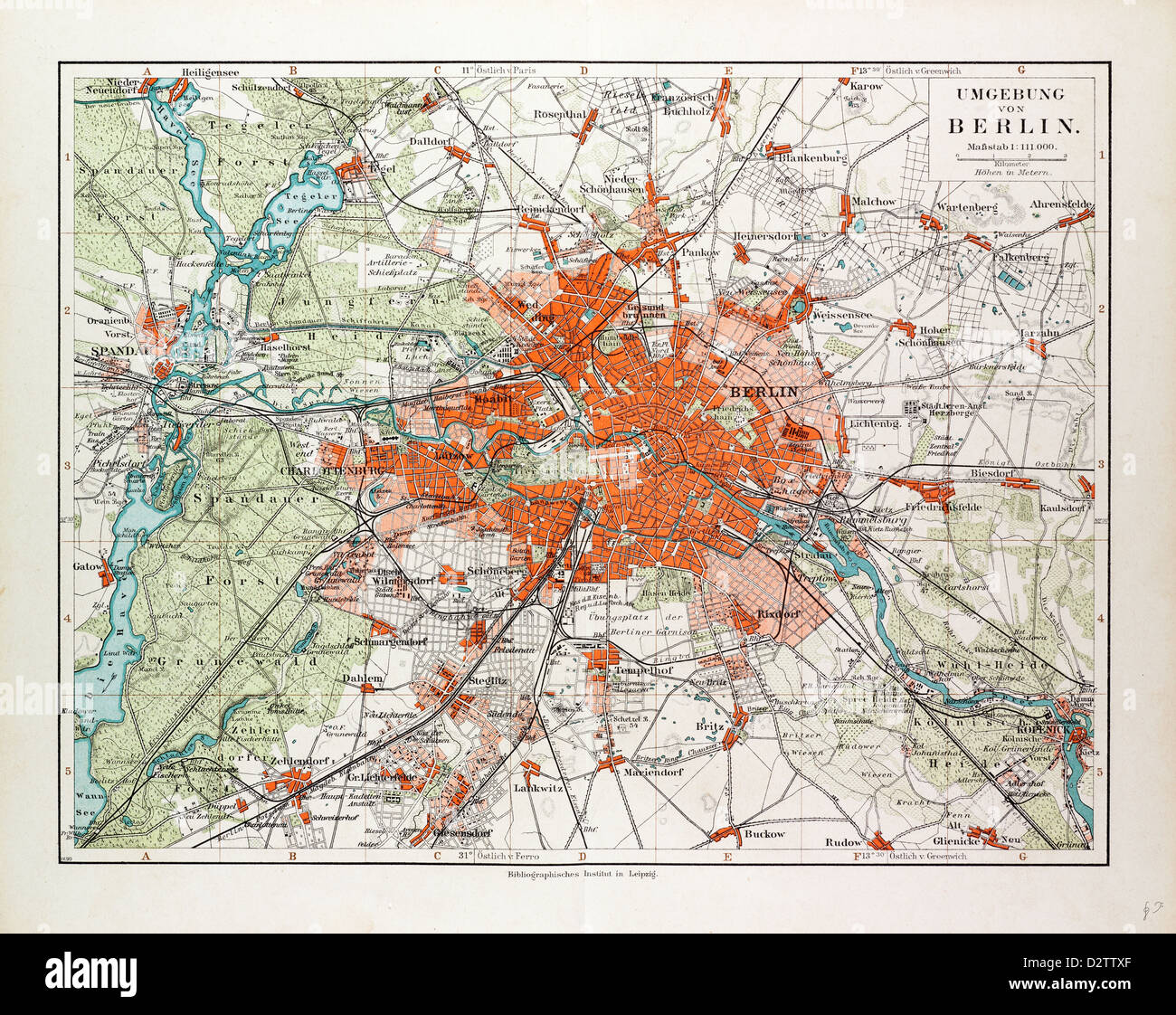 Map Of Berlin And The Surrounding Area Germany 1899 Stock Photo