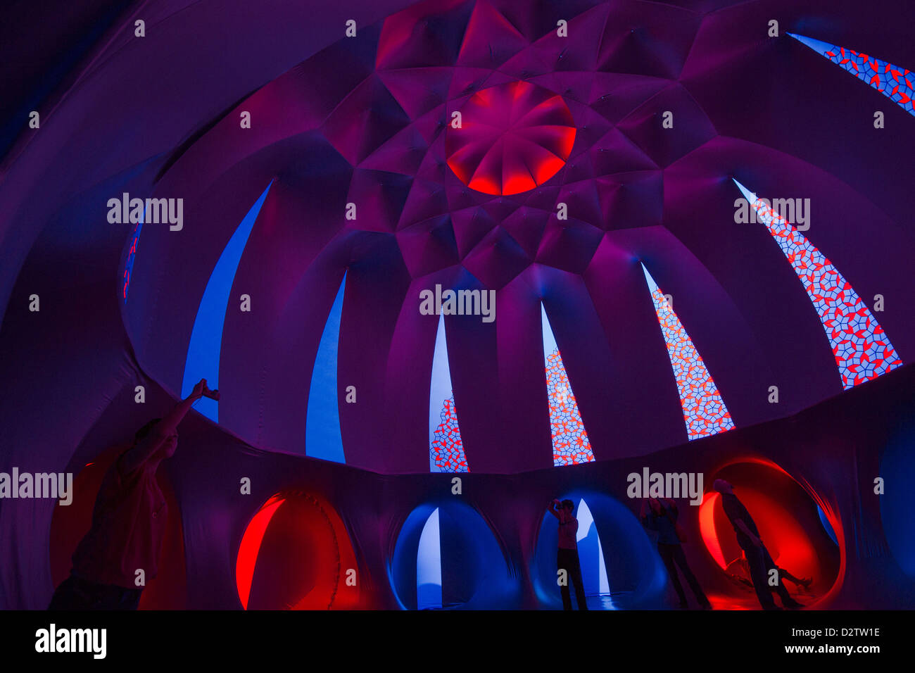 Exxopolis Luminarium - purple dome shaped cathedral inside the inflatable traveling art exhibition by Architects - Stock Image