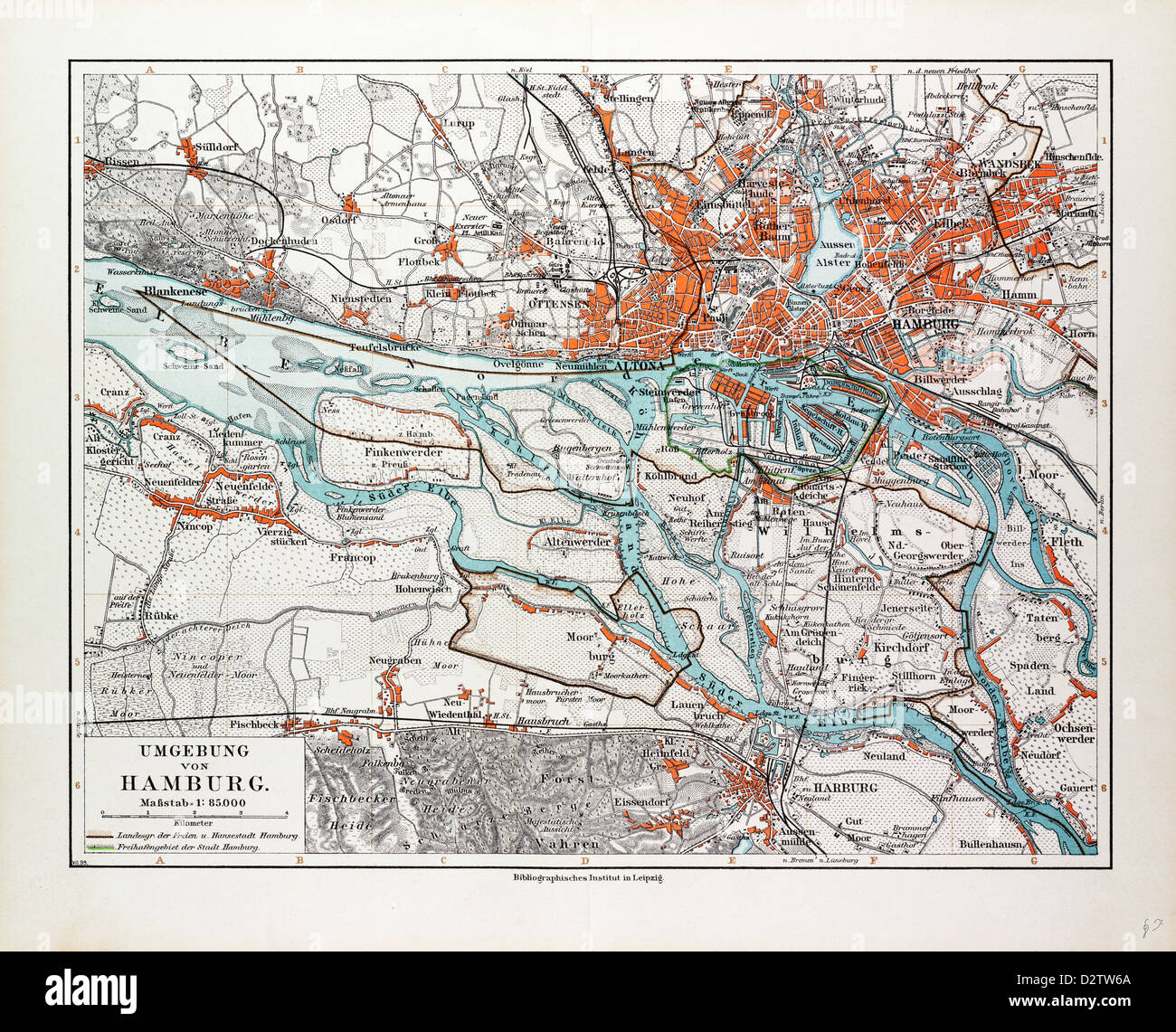 Map Of Hamburg And The Surrounding Area Germany 1899 Stock Photo