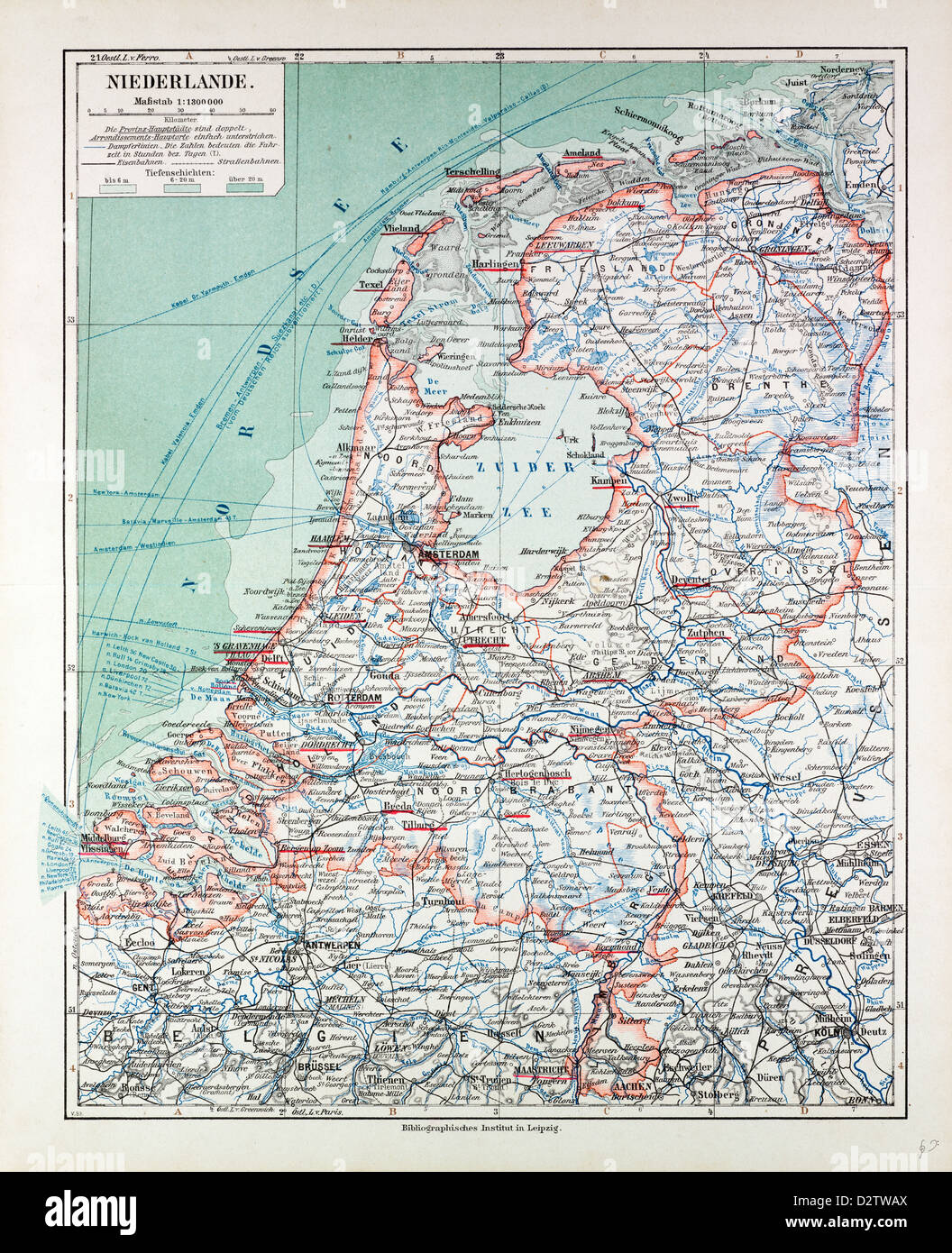 MAP OF THE NETHERLANDS 1899 - Stock Image