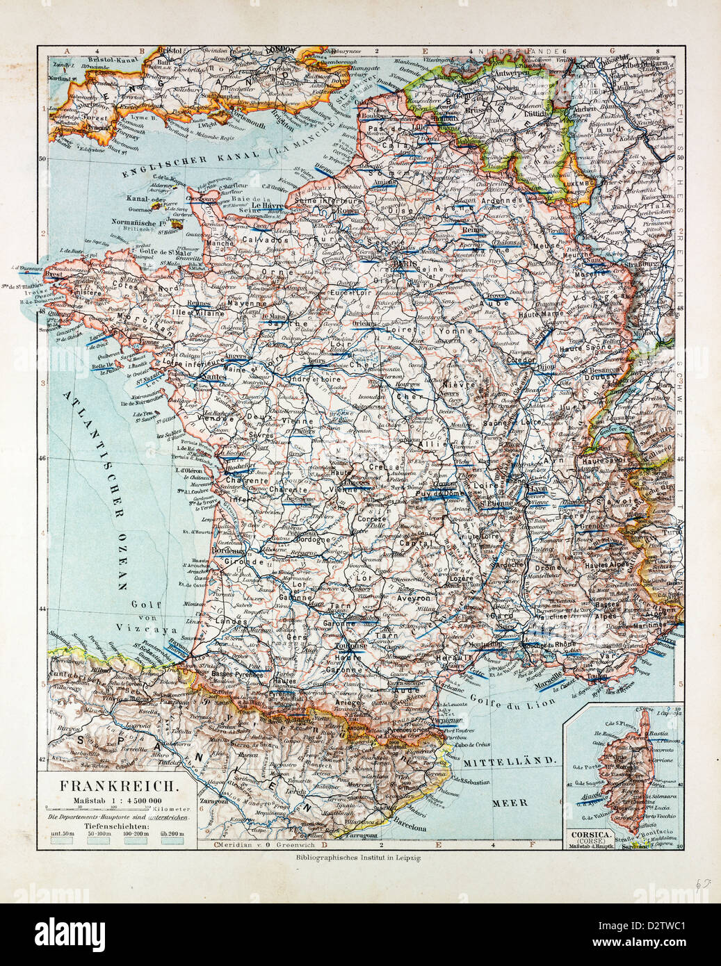 MAP OF FRANCE 1899 - Stock Image