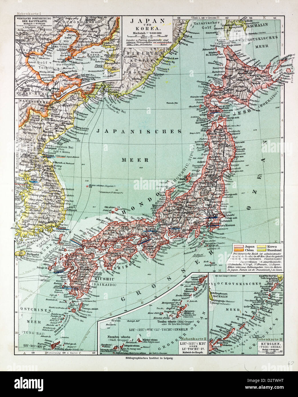 MAP OF JAPAN 1899 - Stock Image