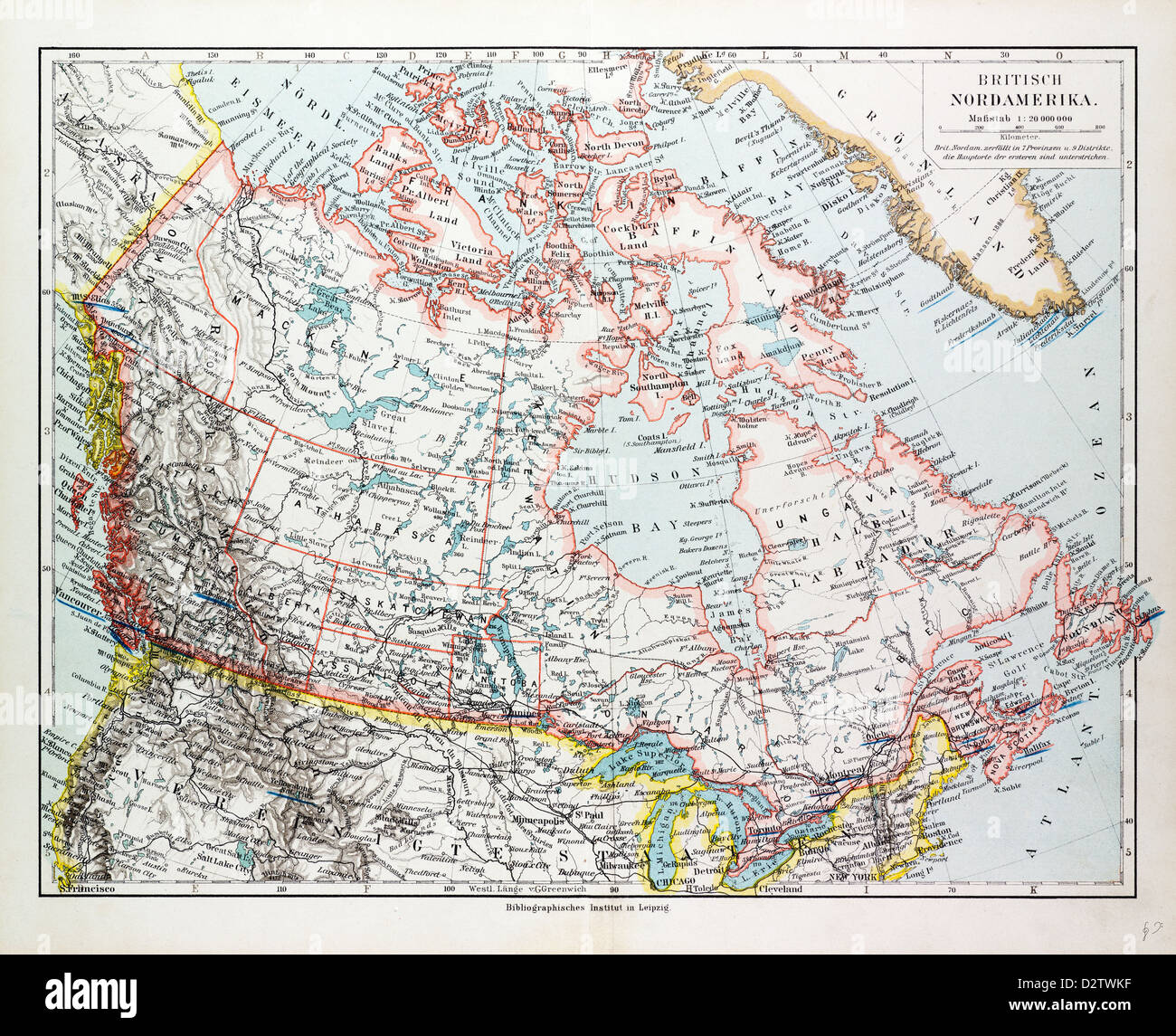 MAP OF CANADA 1899 - Stock Image