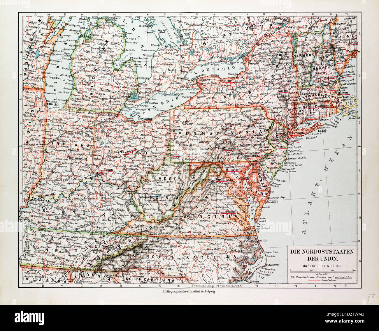 Picture of: Map Of The North East Of The United States Of America 1899 Stock Photo Alamy