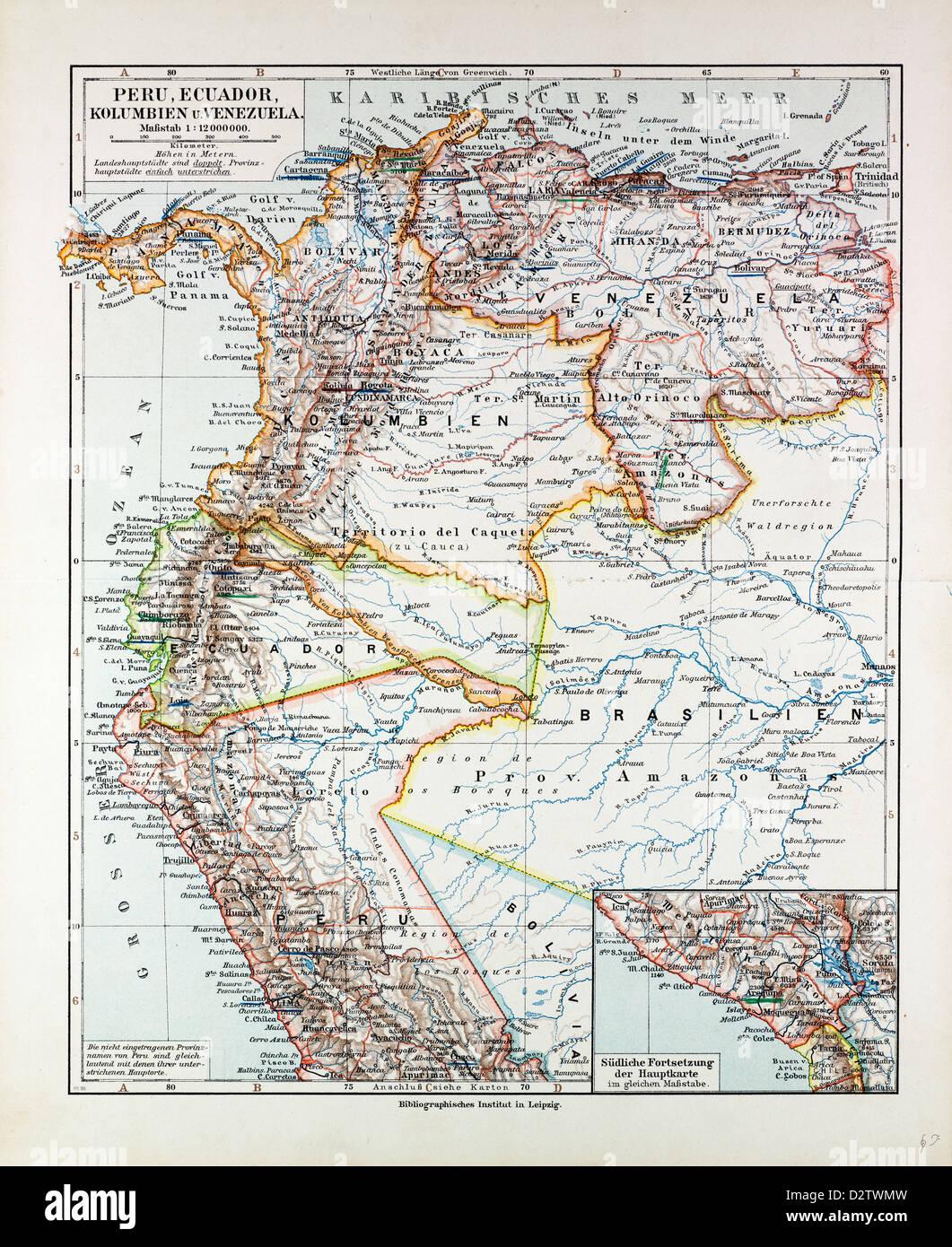 Map peru stock photos map peru stock images alamy map of peru ecuador venezuela and columbia 1899 stock image gumiabroncs Gallery