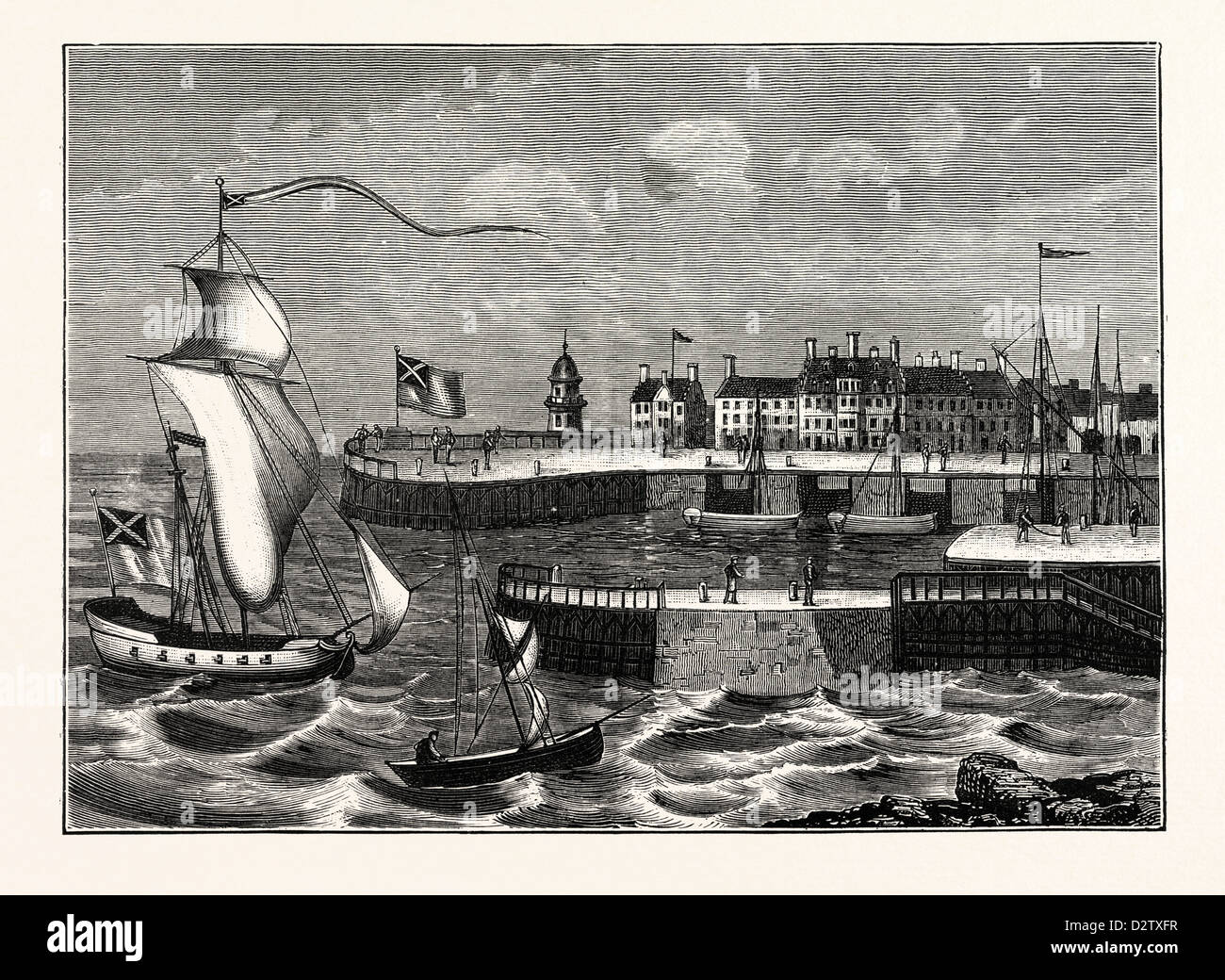 EDINBURGH: LEITH HARBOUR ABOUT 1700 - Stock Image