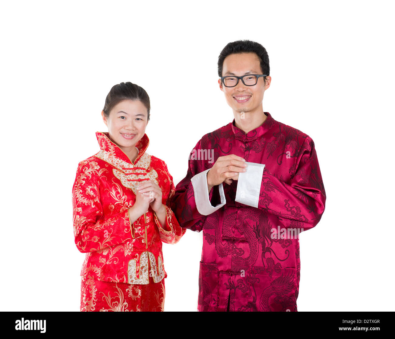 chinese new year husband and wife couple with greetings sign