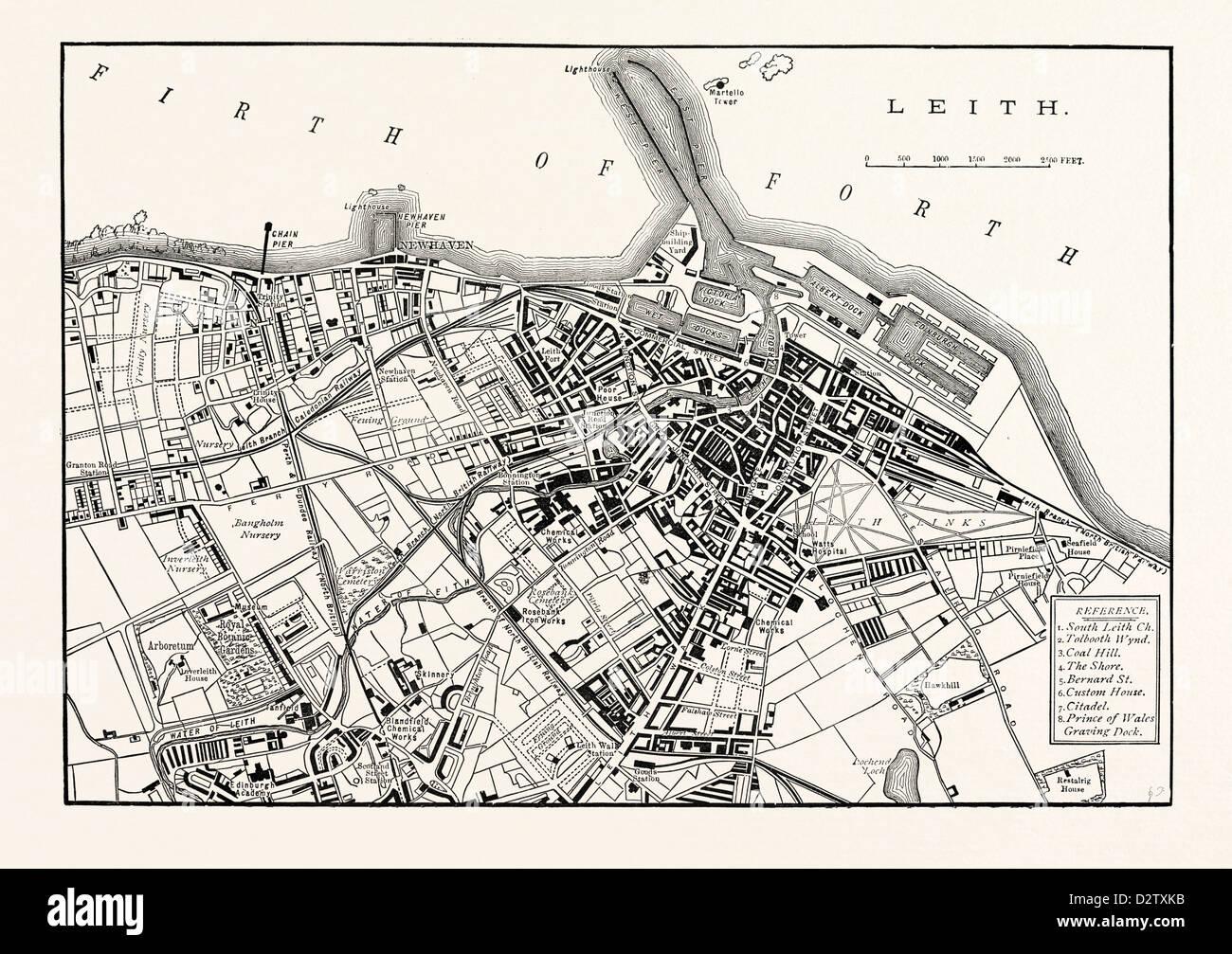 EDINBURGH: PLAN OF LEITH 1883 - Stock Image