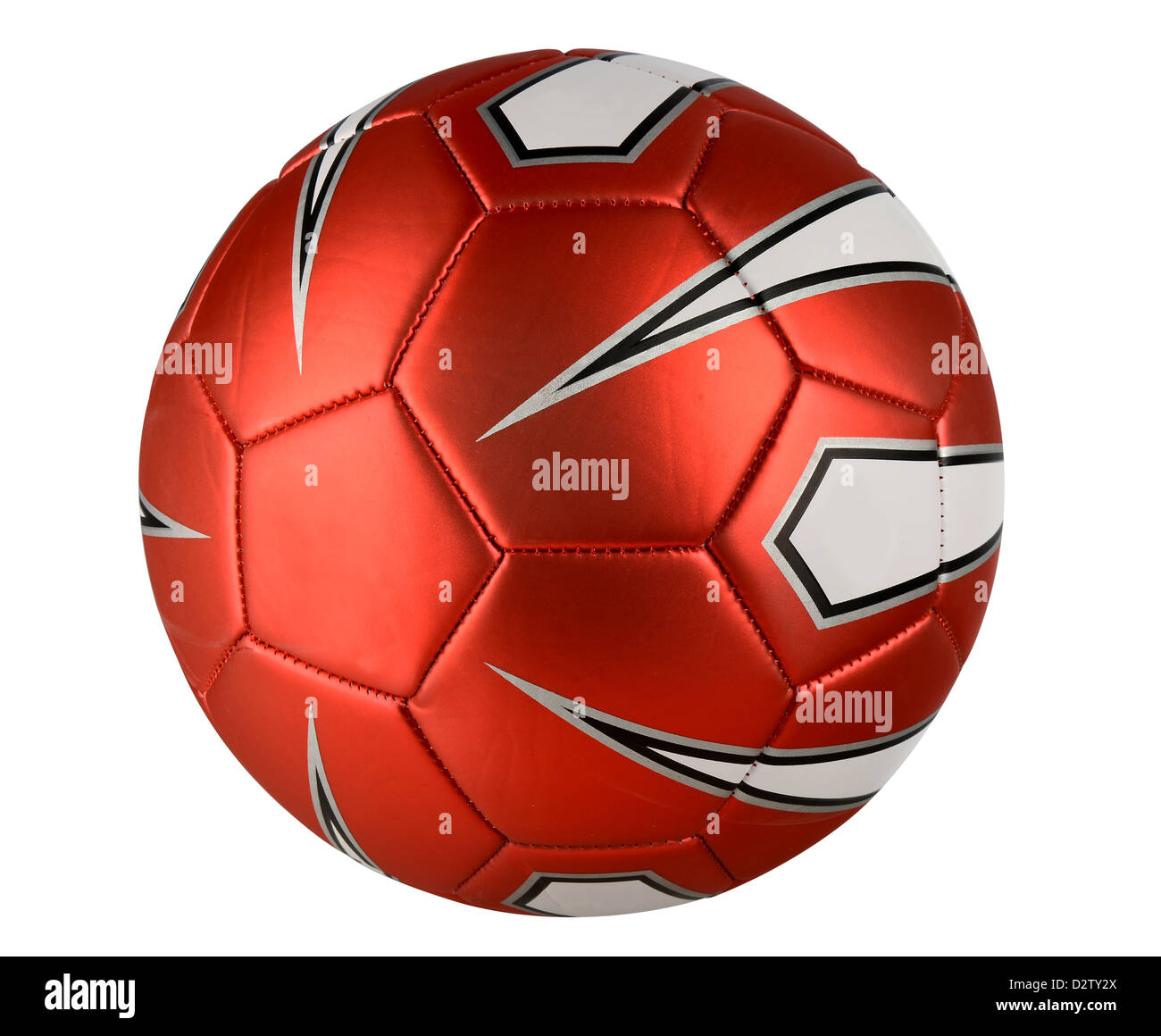 Red soccer ball isolated over white background - With Clipping Path - Stock Image