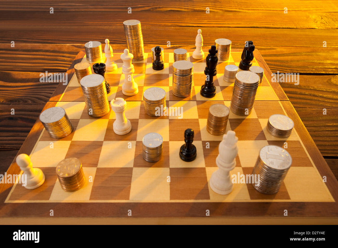 Coins And Chess Pieces On Chess Board Stock Photo 53408558 Alamy