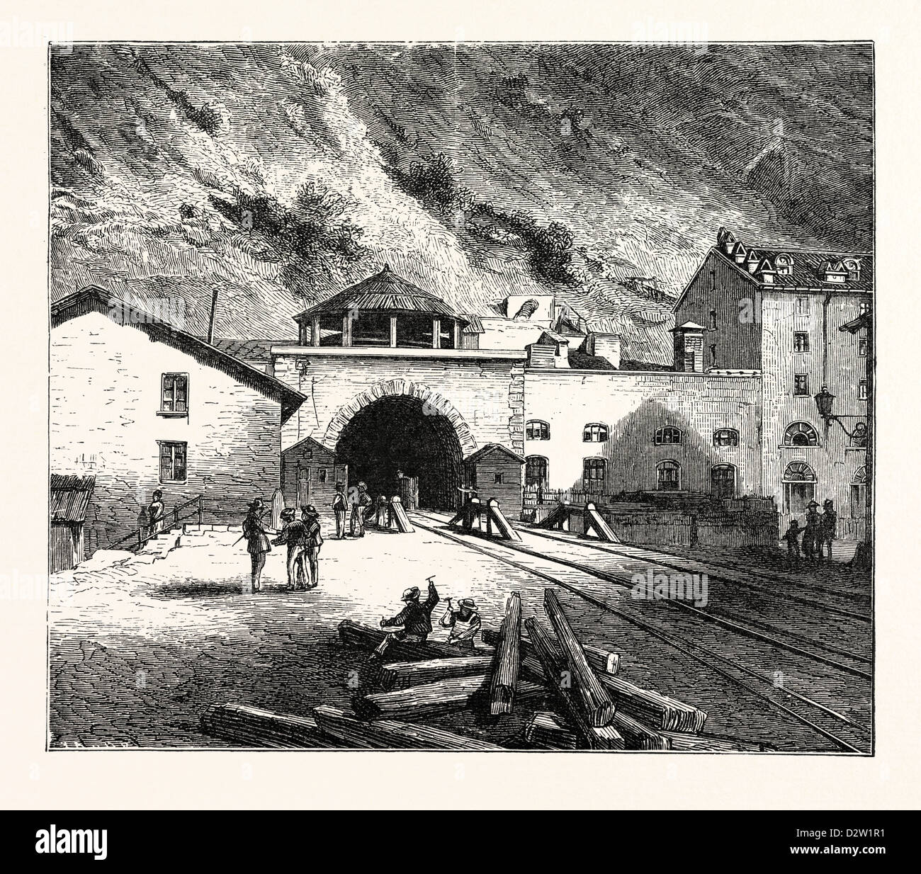THE MONT CENIS TUNNEL FROM THE ITALIAN SIDE. - Stock Image