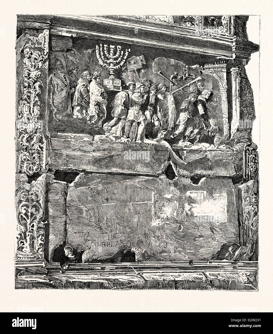 FRIEZE FROM THE ARCH OF TITUS. Rome Italy - Stock Image