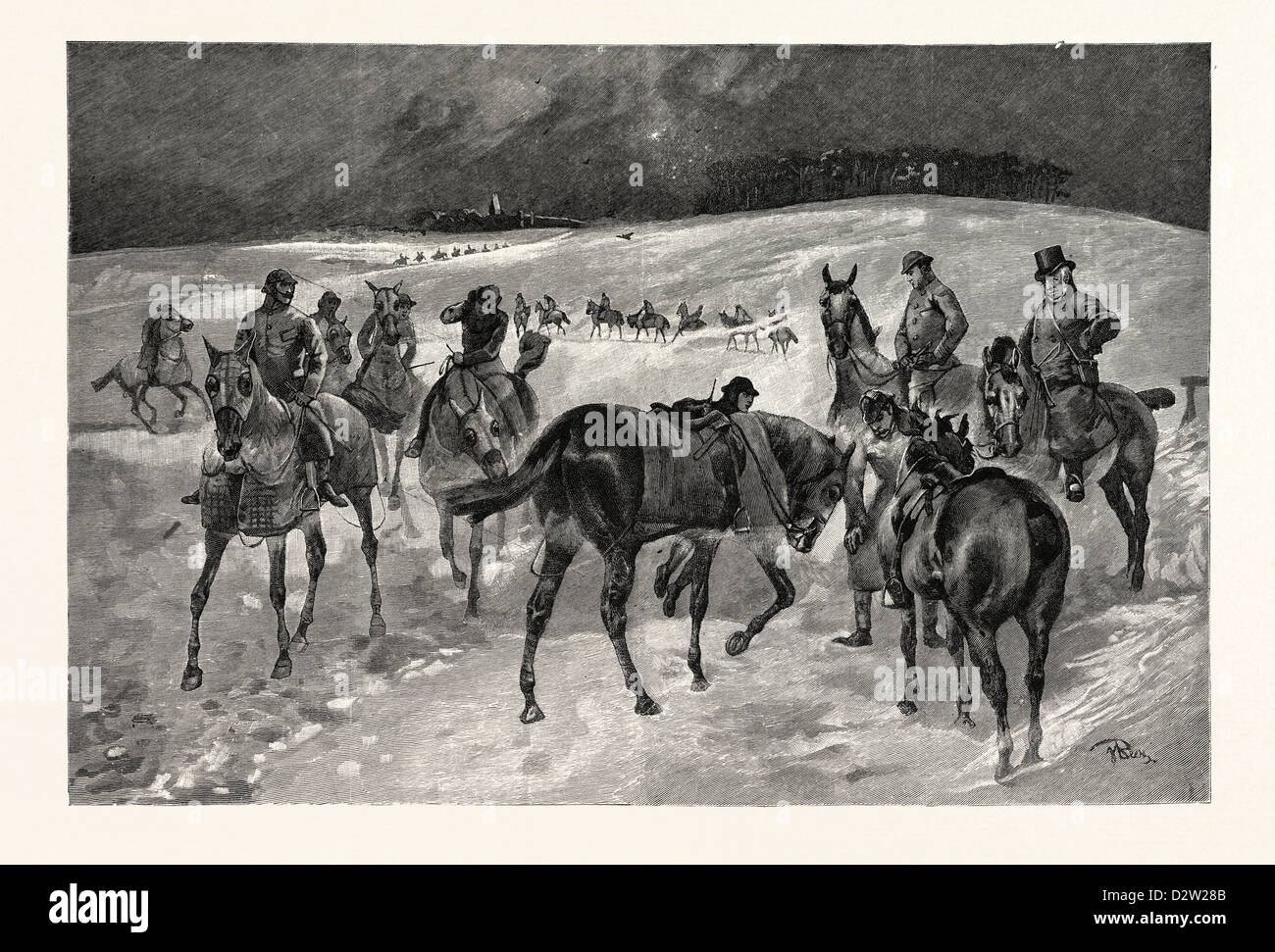 A WINTRY MORNING ON NEWMARKET HEATH: INSPECTING THE THOROUGHBREDS WHILST AT MORNING EXERCISE 1891 - Stock Image
