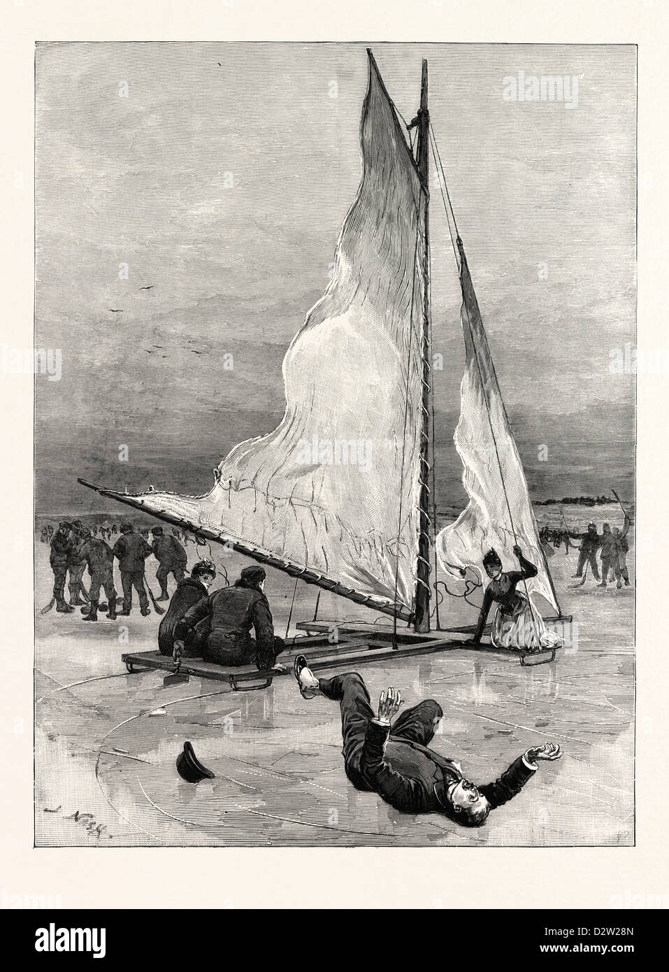 ICE YACHTING ON LOCH COBBINSHAW READY ABOUT RESULT MAN OVER BOARD - Stock Image