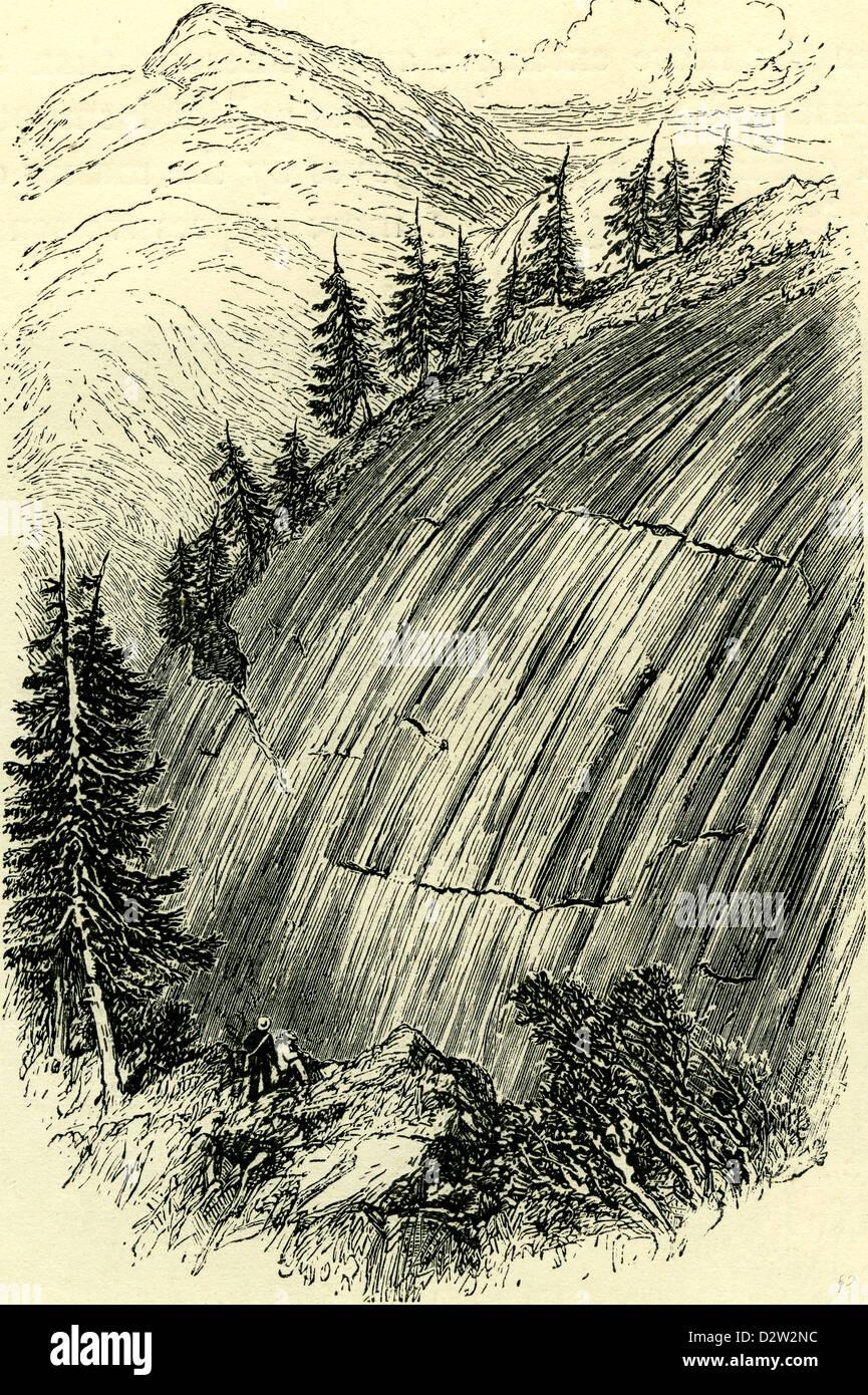 ROCKS POLISHED BY OLD GLACIERS Switzerland - Stock Image