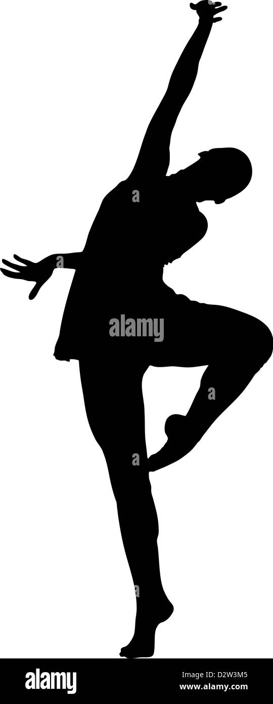 silhouette and girl in the pose of dance - Stock Image