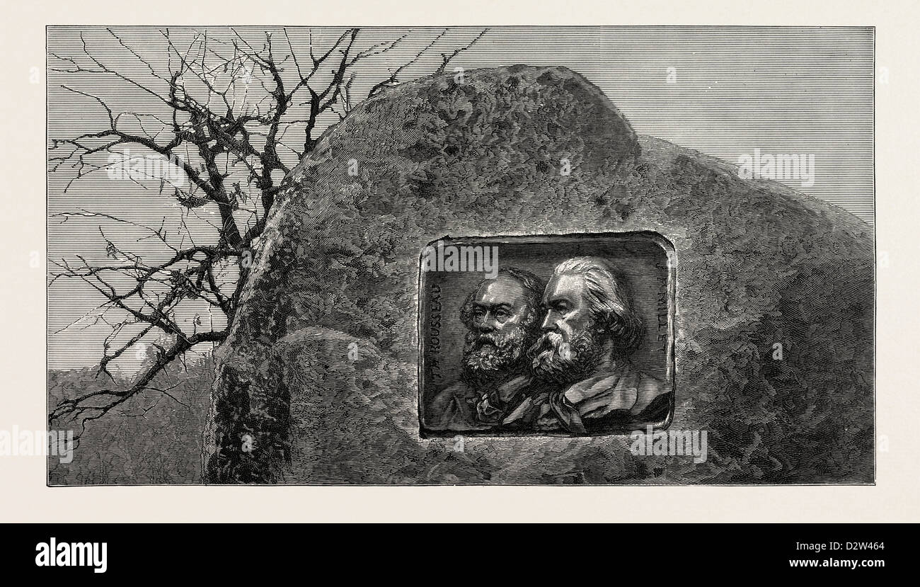 MEMORIAL TO THE FRENCH ARTISTS THEODORE ROUSSEAU AND JEAN FRANÇOIS MILLET FONTAINEBLEAU FOREST - Stock Image