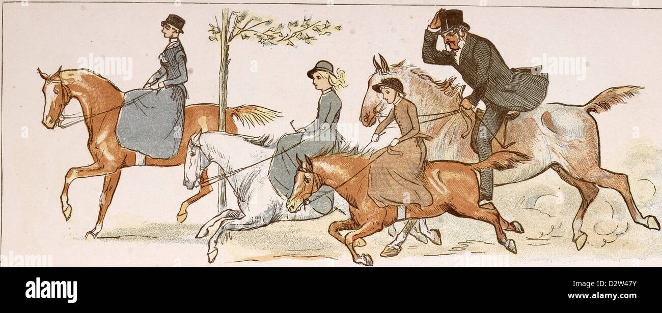 HORSERIDING 19th century, engraved image - Stock Image