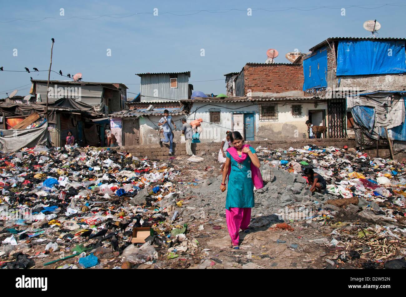 Mumbai  dump ( Bombay ) Slum near Colaba and World Trade Center India - Stock Image