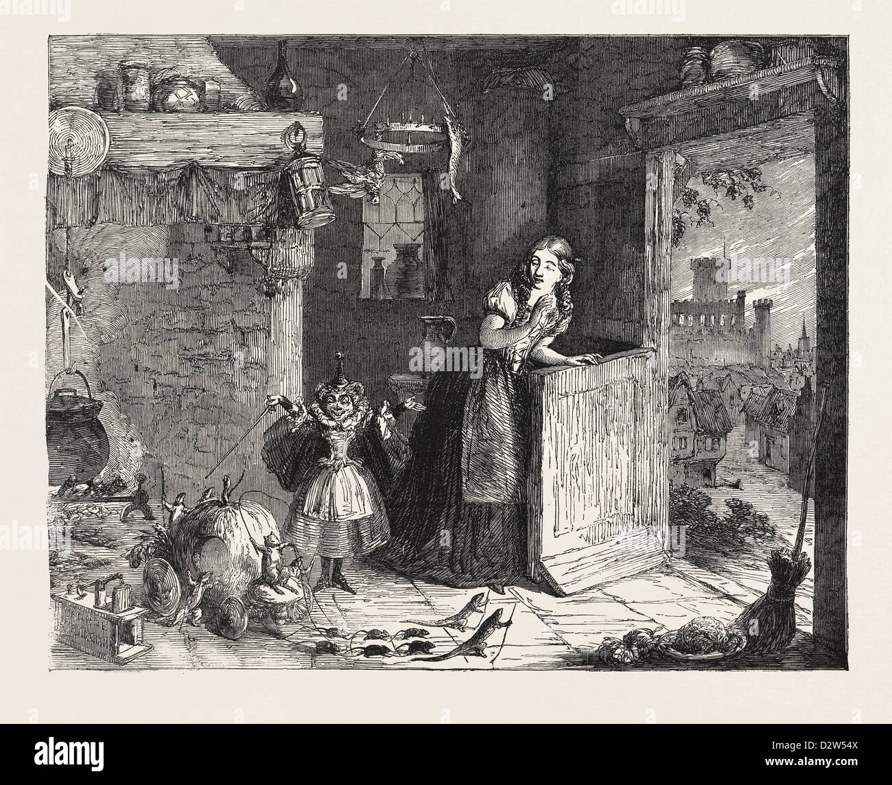 CINDERELLA PAINTED BY GEORGE CRUIKSHANK FROM THE EXHIBITION OF THE ROYAL ACADEMY 1854 - Stock Image