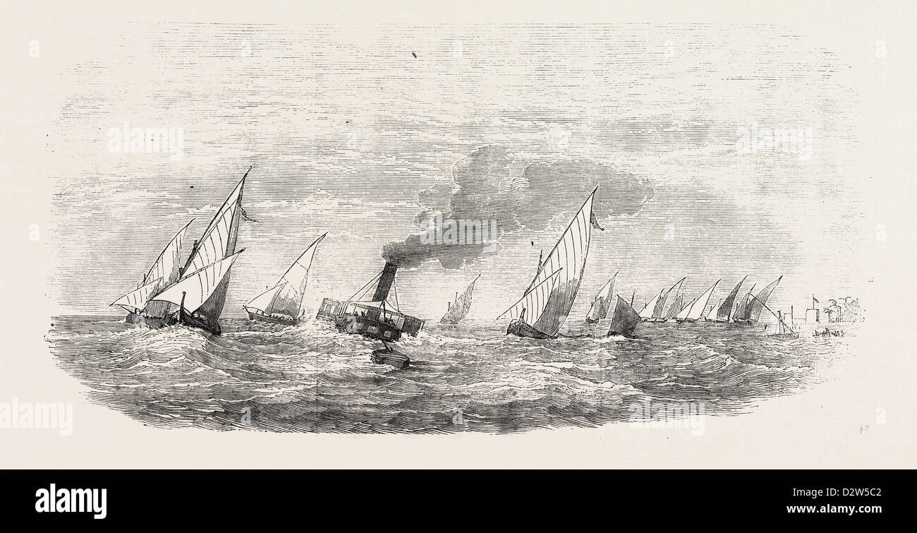 VESSELS PASSING THE BAR AT THE ROSETTA MOUTH OF THE NILE - Stock Image