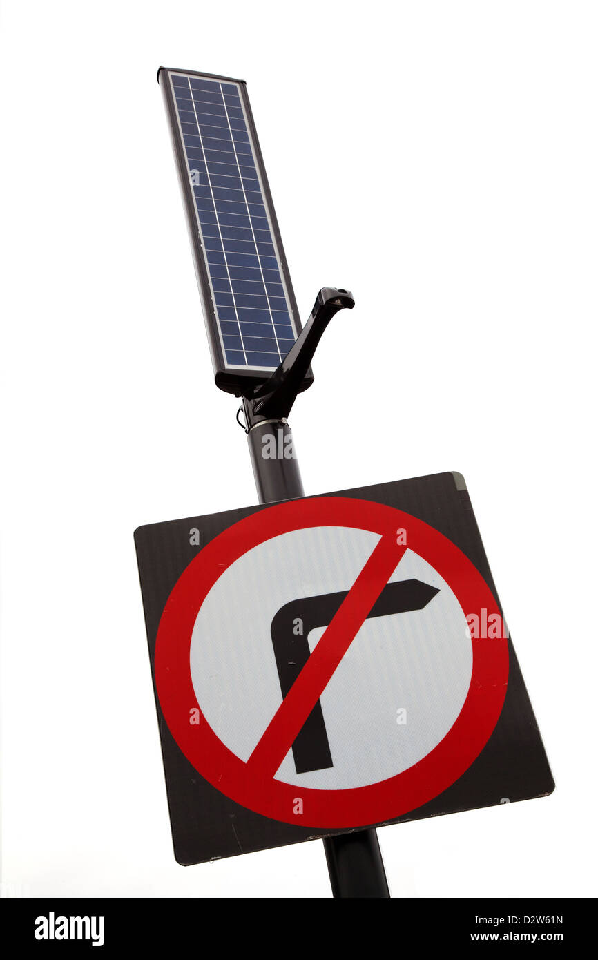 No-right-turn street sign with solar panel for lighting - Stock Image