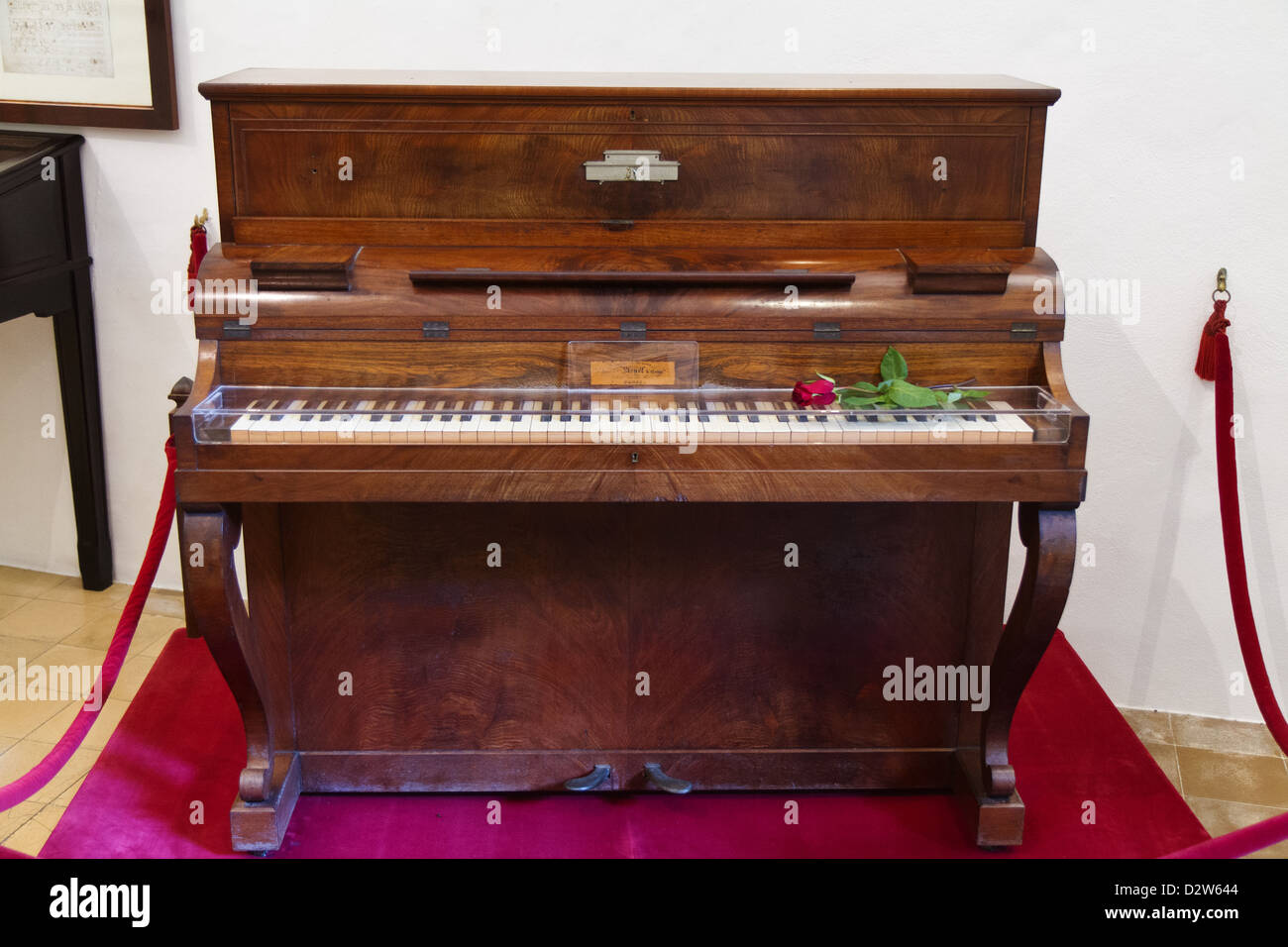 The old Pleyel piano used by Frédéric Chopin at the Royal Carthusian Monastery (Real Cartuja), Valldemossa, - Stock Image