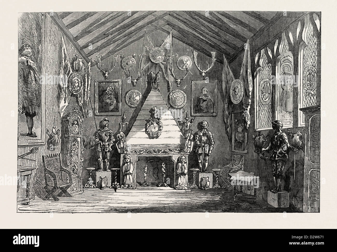 THE OLDHAM LYCEUM EDUCATIONAL AND INDUSTRIAL EXHIBITION THE BARONIAL HALL 1854 - Stock Image
