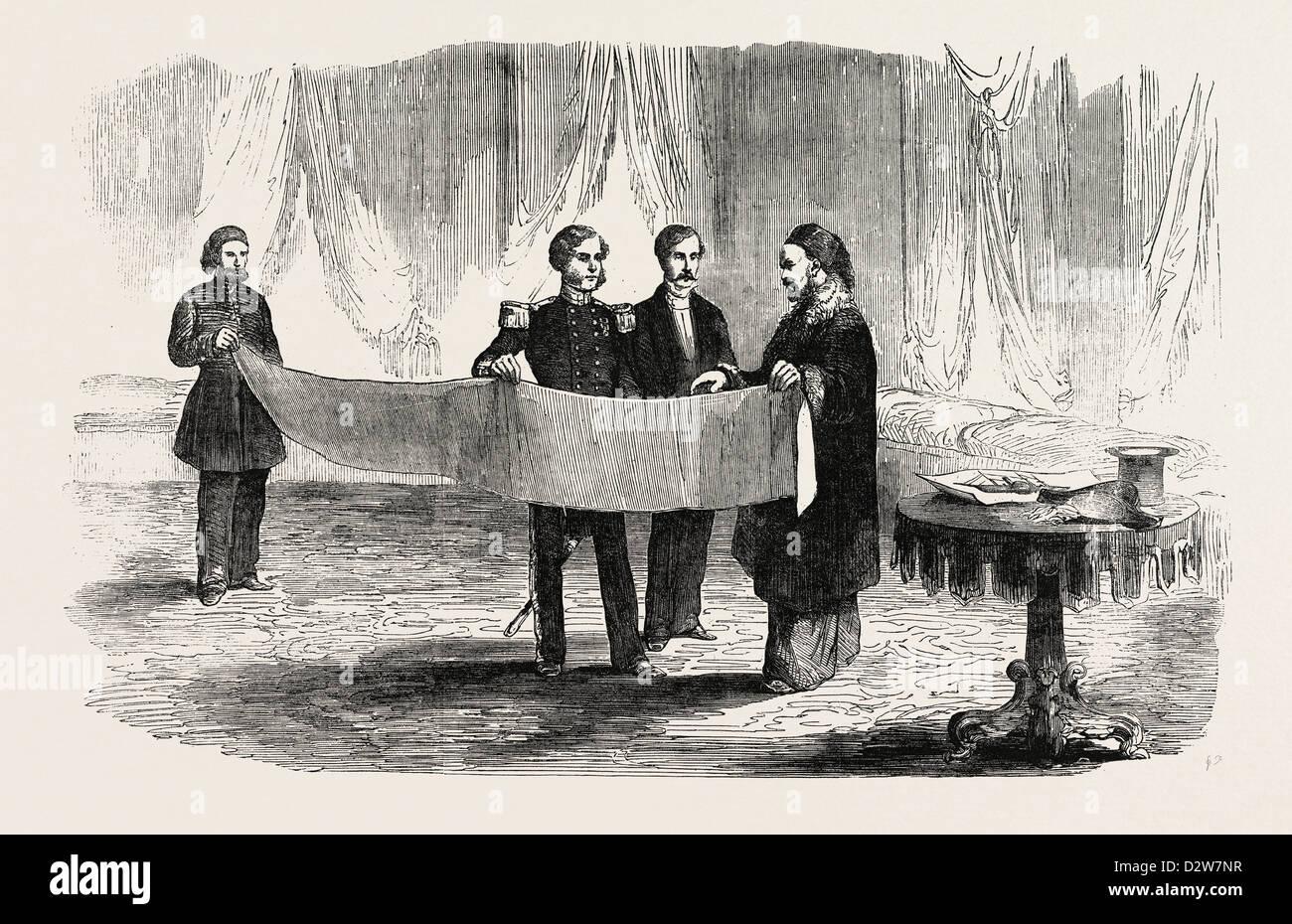 THE CRIMEAN WAR: LIEUTENANT MONTAGU O'REILLY EXPLAINING HIS SKETCH OF SEBASTOPOL TO THE SULTAN 1854 - Stock Image