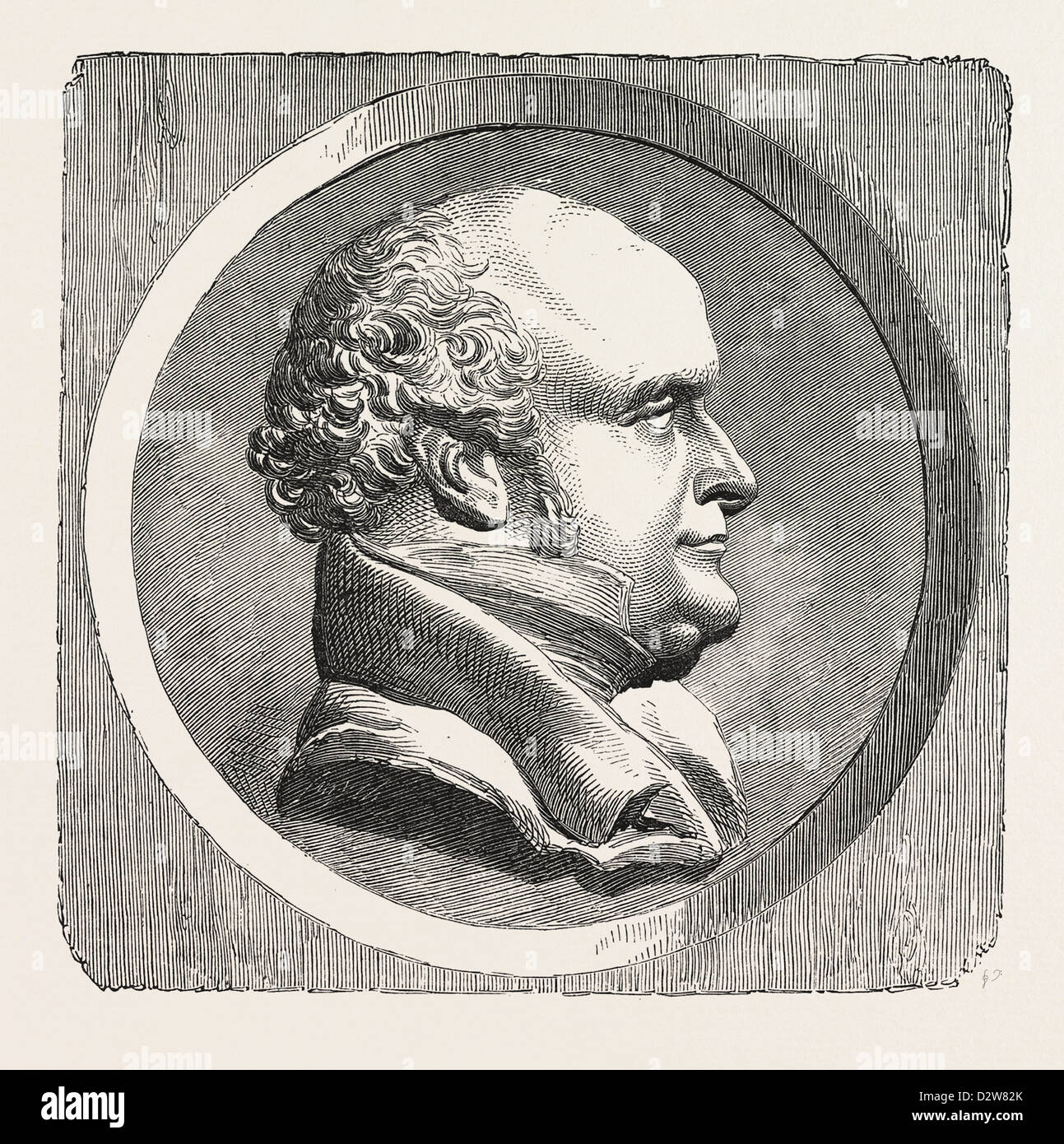 MEDALLIC PORTRAIT OF SIR J. FRANKLIN BY DAVID. - Stock Image