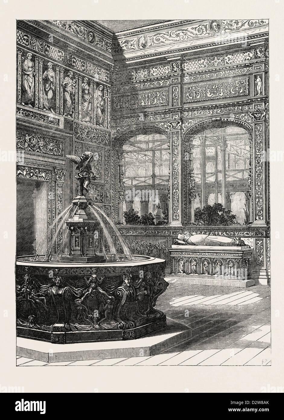 THE RENAISSANCE COURT AT THE CRYSTAL PALACE SYDENHAM UK 1854 - Stock Image