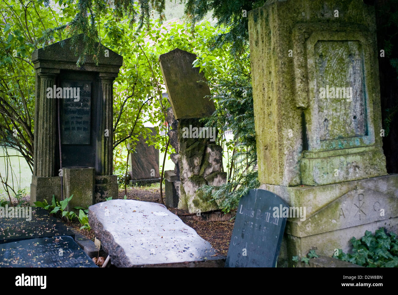 Berlin, Germany, grave stones in the cemetery of the French-Ref. Community - Stock Image