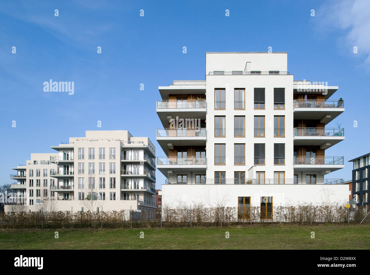 Berlin, Germany, at the newly built townhouses Rummelsburg Bay Stock Photo