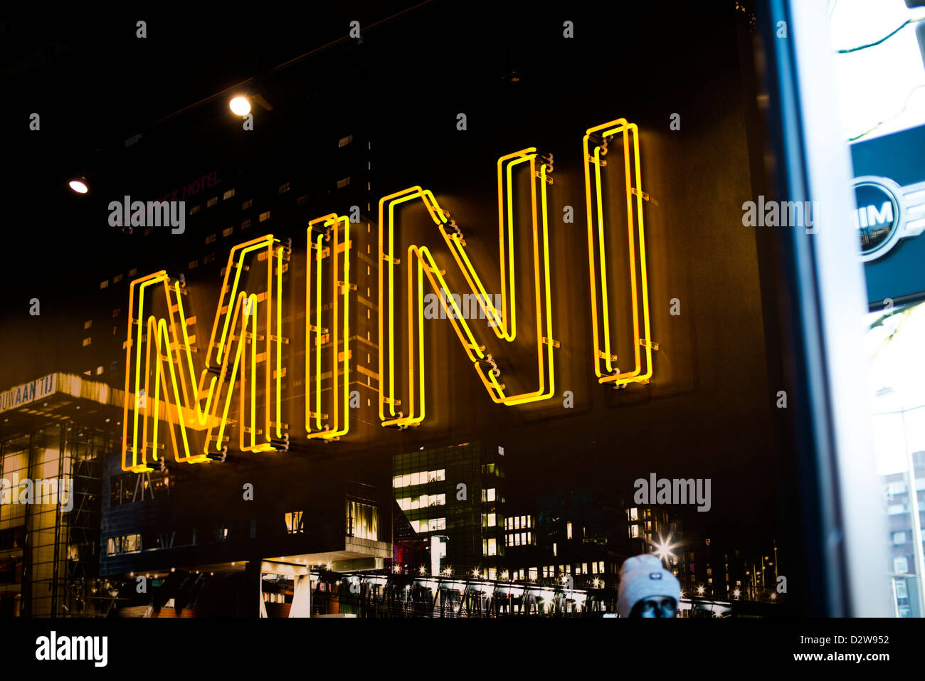 A MINI neon sign at the MINI shop in Leidseplein Amsterdam - Stock Image