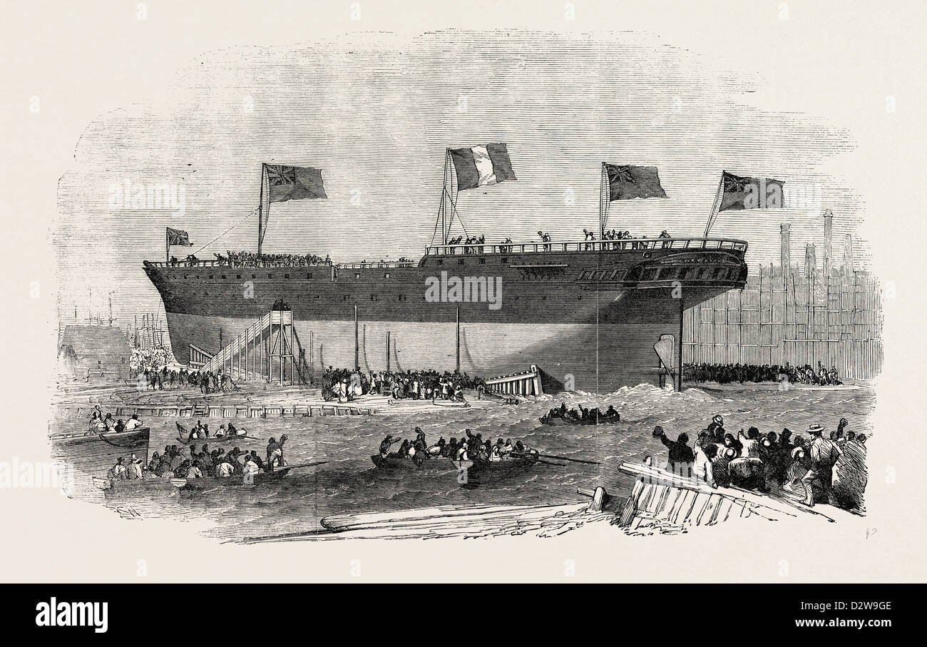 LAUNCH OF THE VITTORIO EMANUELE IRON SCREW STEAMER AT BLACKWALL 1854 - Stock Image