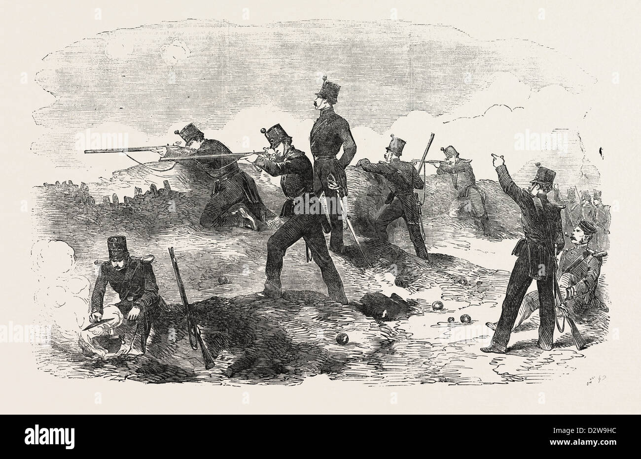 THE CRIMEAN WAR: THE SIEGE OF SEBASTOPOL THE RIFLES IN THE TRENCHES 1854 - Stock Image