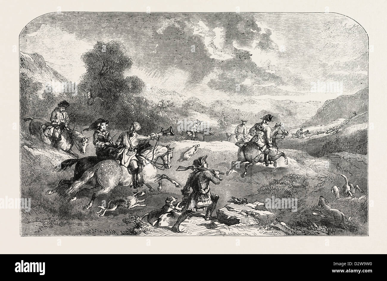 STAG-HUNTING IN THE REIGN OF GEORGE II. FROM A PAINTING BY FREDERICK TAYLER - Stock Image