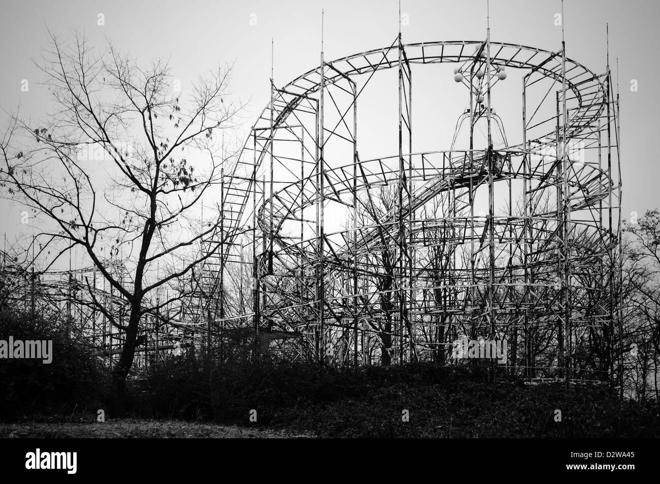 Abandoned fun fair. Roller coaster - Stock Image