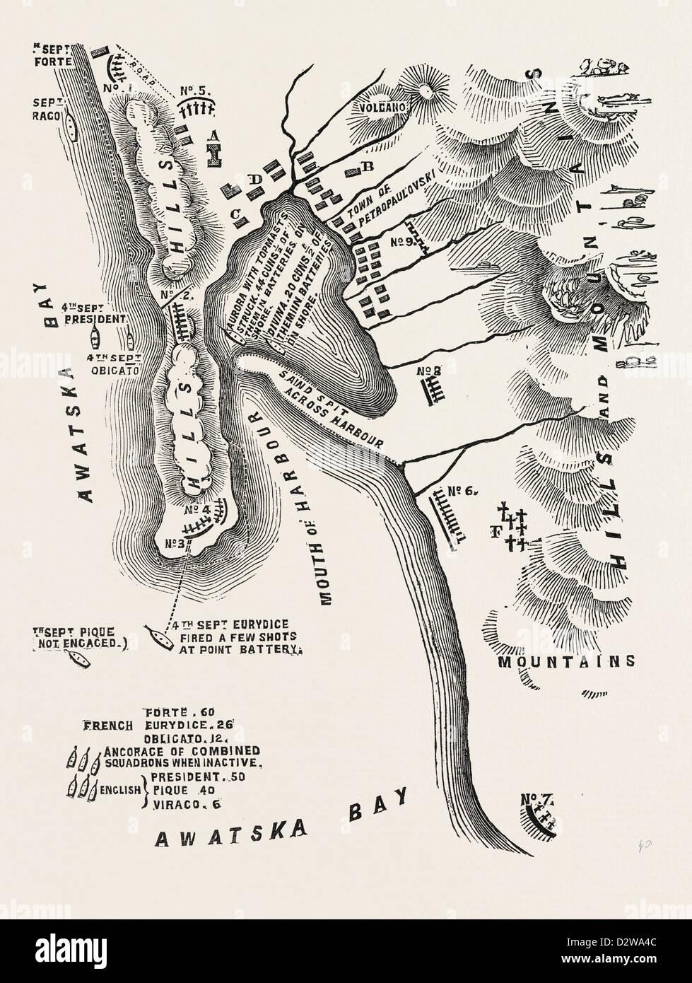 THE CRIMEAN WAR: PLAN OF PETROPAULOVSKI 1854 - Stock Image